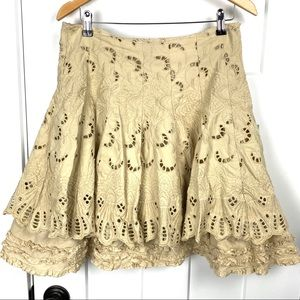 MISS ME cotton embroidery ruffle eyelet skirt